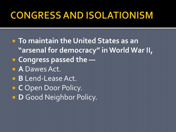 CONGRESS AND ISOLATIONISM