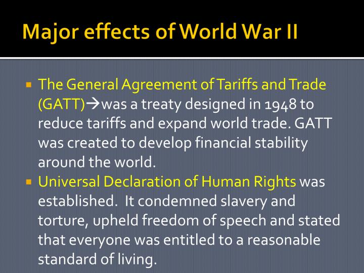 Major effects of World War II