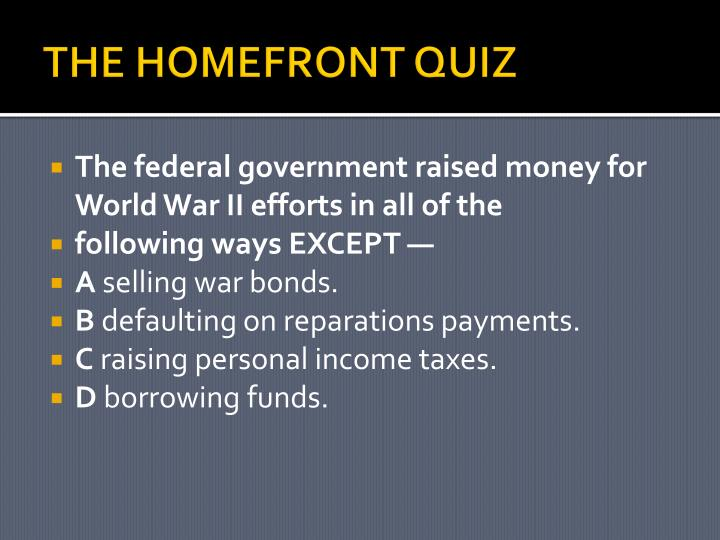 THE HOMEFRONT QUIZ