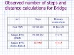 observed number of steps and distance calculations for bridge