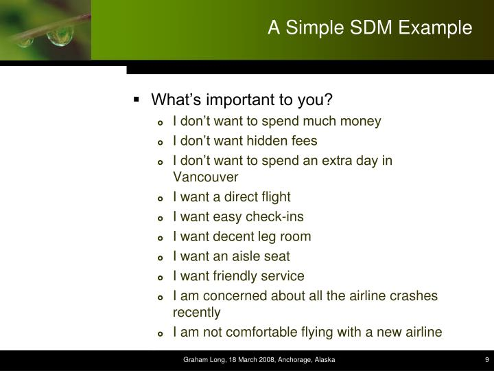 A Simple SDM Example