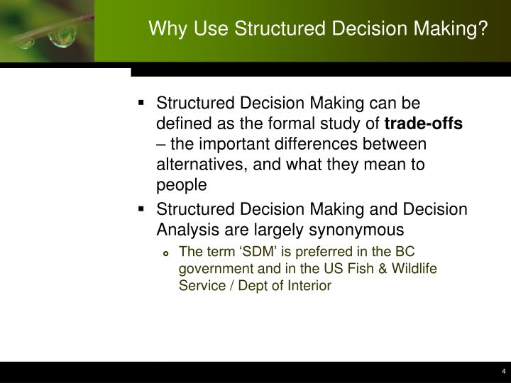 Why Use Structured Decision Making?