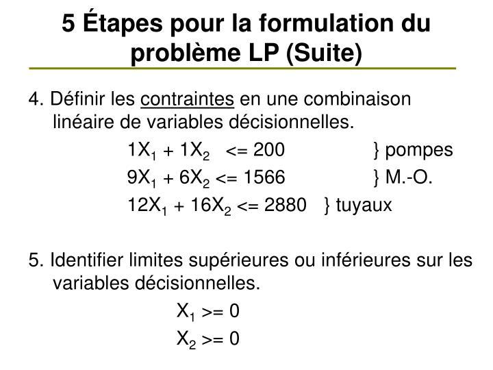 5 Étapes pour la formulation du problème LP (Suite)