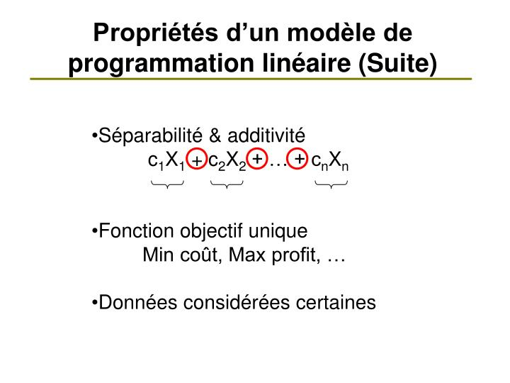 Propriétés d'un modèle de programmation linéaire (Suite)