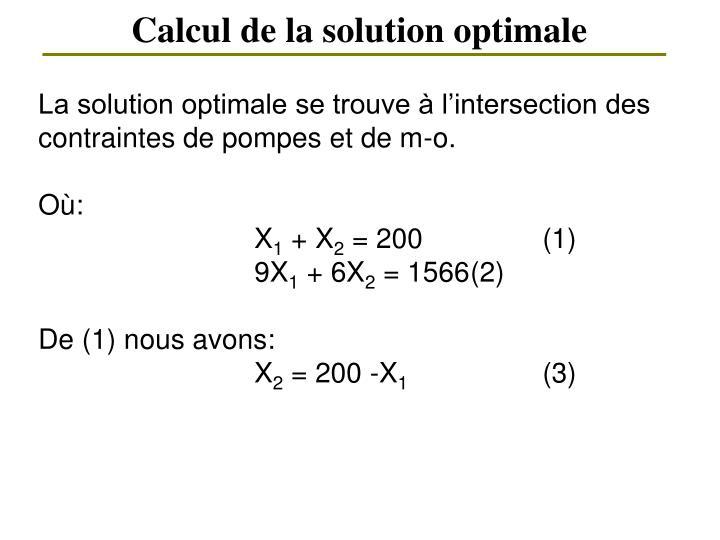 Calcul de la solution optimale