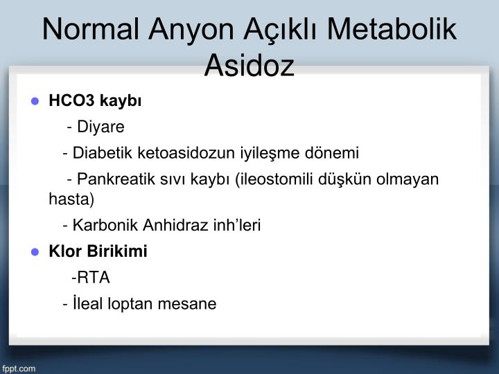 Normal Anyon Açıklı Metabolik Asidoz