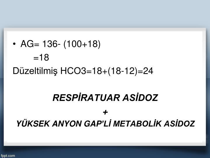 AG= 136- (100+18)