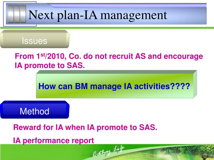 Next plan-IA management