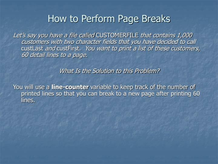 How to Perform Page Breaks
