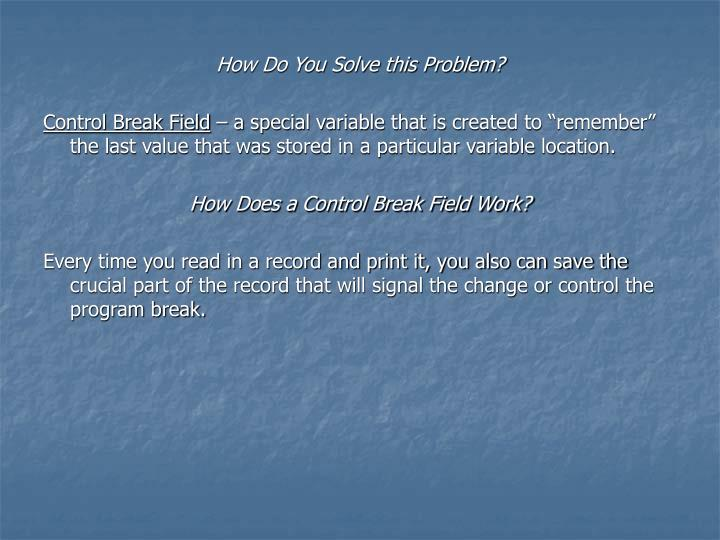 How Do You Solve this Problem?