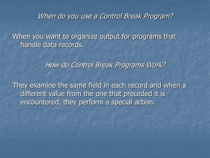 When do you use a Control Break Program?