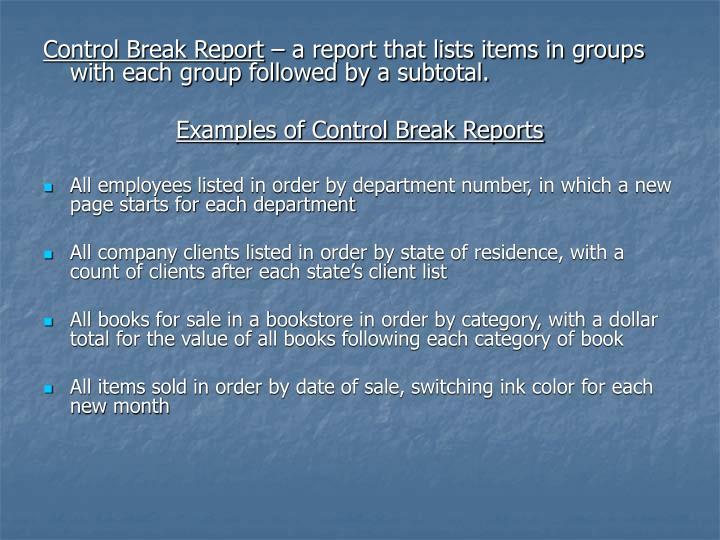Control Break Report