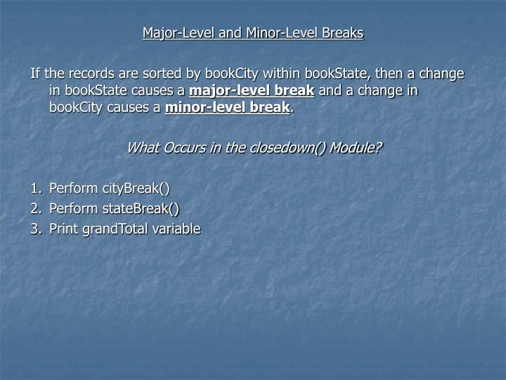 Major-Level and Minor-Level Breaks