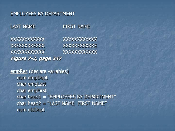 EMPLOYEES BY DEPARTMENT