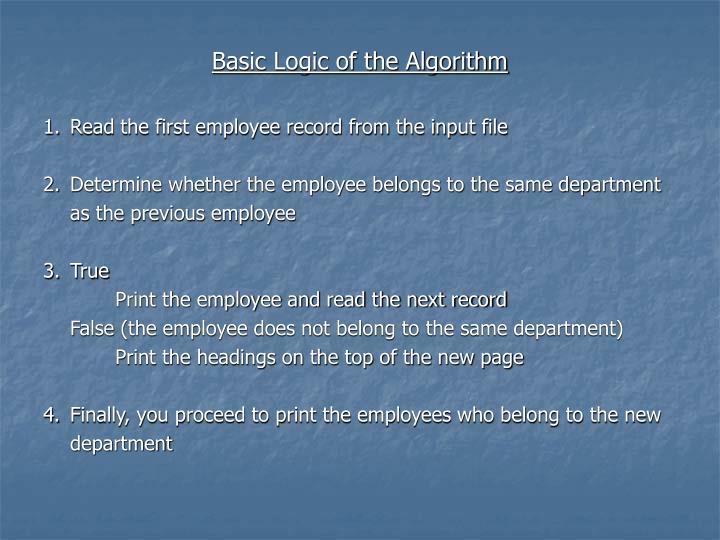 Basic Logic of the Algorithm
