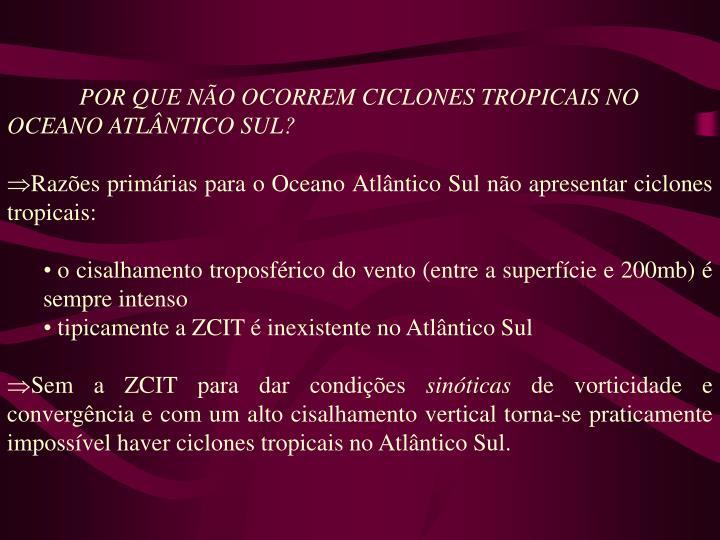 POR QUE NÃO OCORREM CICLONES TROPICAIS NO OCEANO ATLÂNTICO SUL?