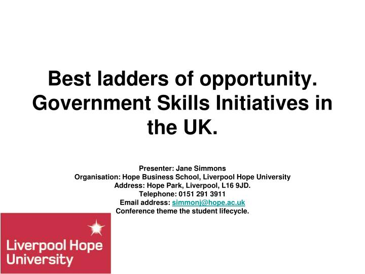best ladders of opportunity government skills initiatives in the uk