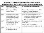 summary of key uk government educational initiatives and uk in world educational rankings 4
