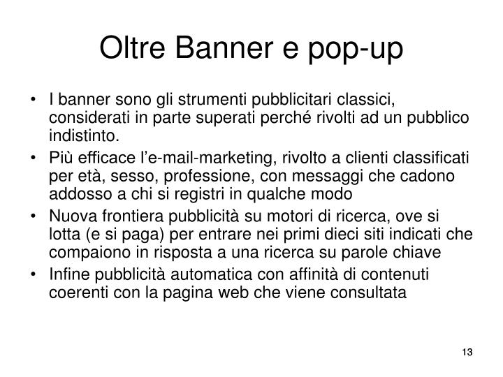 Oltre Banner e pop-up