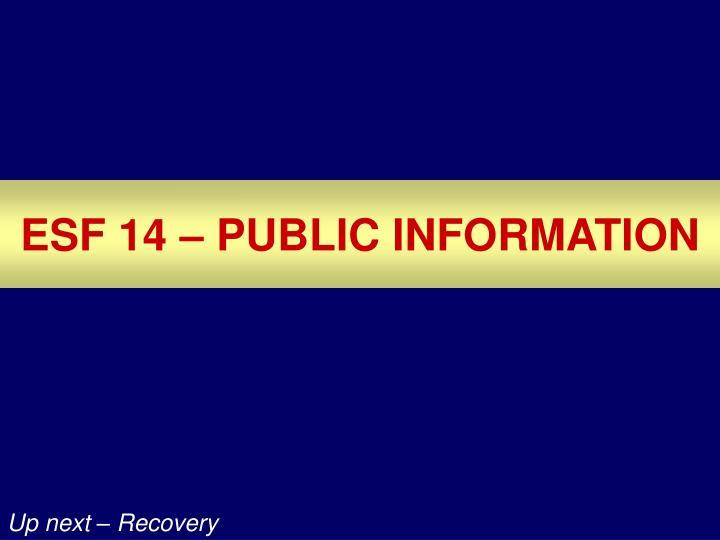 ESF 14 – PUBLIC INFORMATION