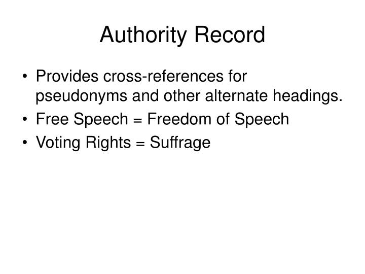 Authority Record
