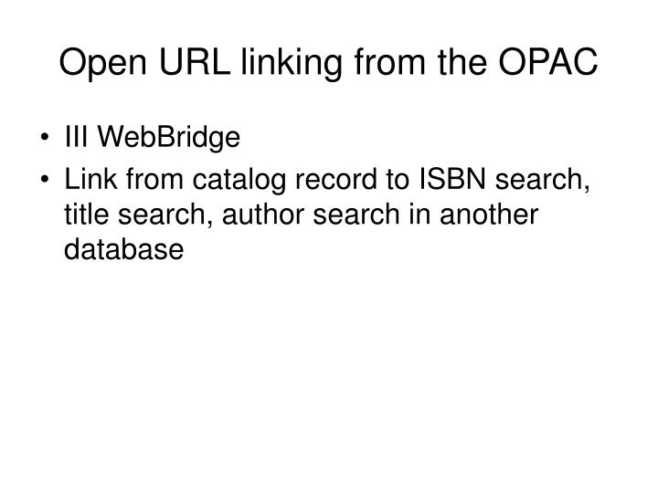 Open URL linking from the OPAC