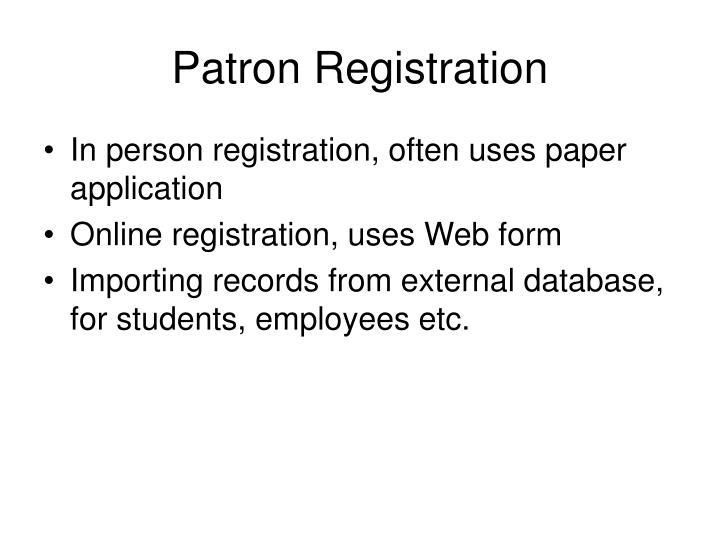Patron Registration