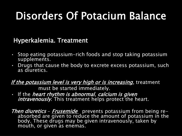 Disorders Of Potacium Balance