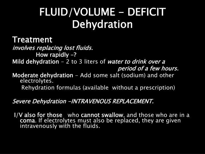 FLUID/VOLUME - DEFICIT Dehydration