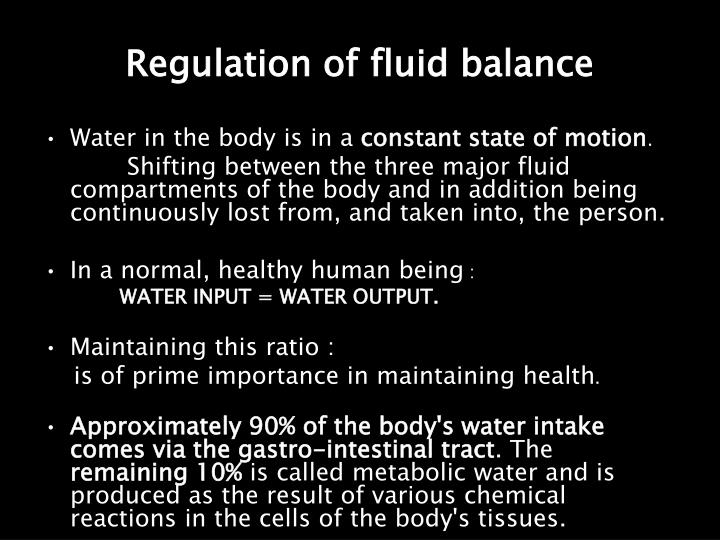 Regulation of fluid balance