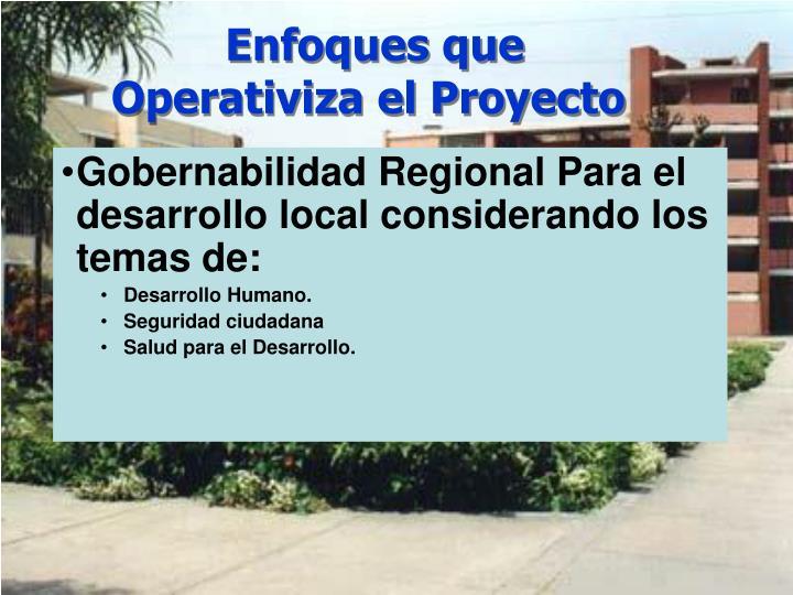 Enfoques que Operativiza el Proyecto