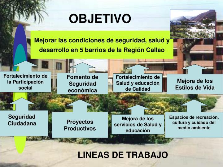 Mejorar las condiciones de seguridad, salud y desarrollo en 5 barrios de la Región Callao