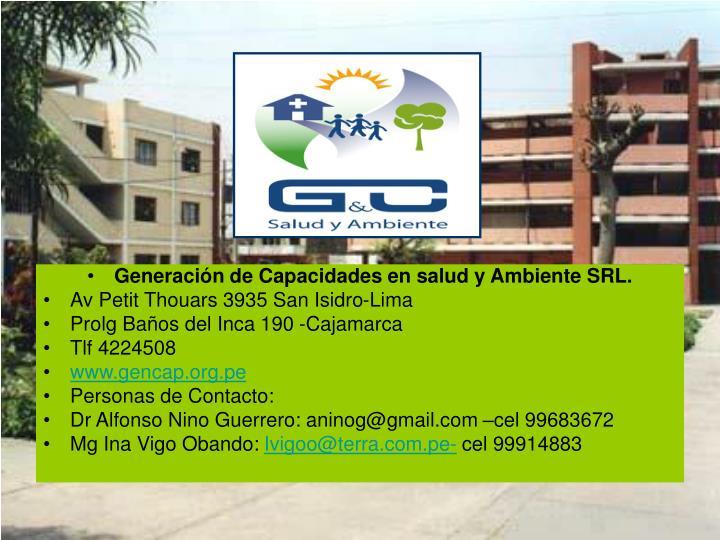 Generación de Capacidades en salud y Ambiente SRL.