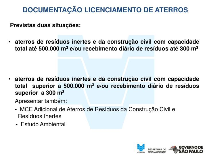 DOCUMENTAÇÃO LICENCIAMENTO DE ATERROS