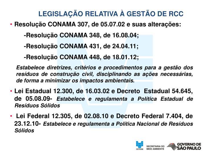 LEGISLAÇÃO RELATIVA À GESTÃO DE RCC