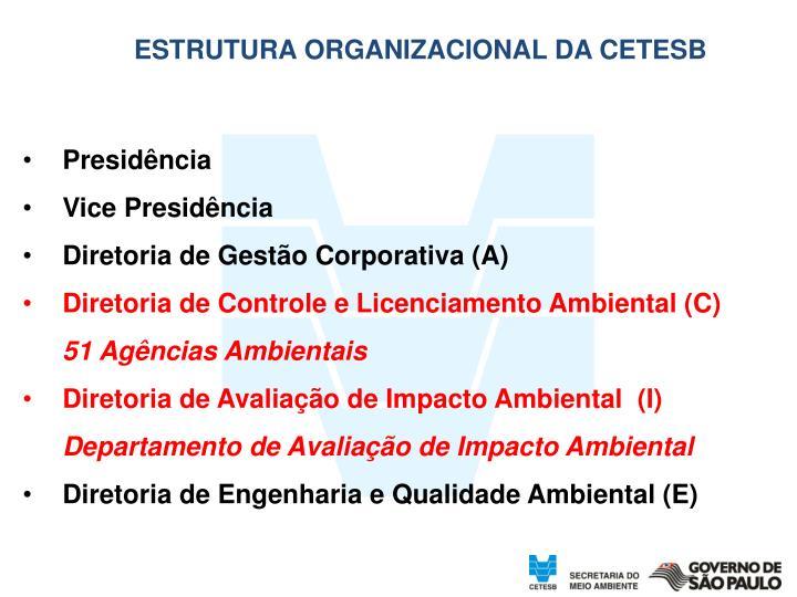 ESTRUTURA ORGANIZACIONAL DA CETESB