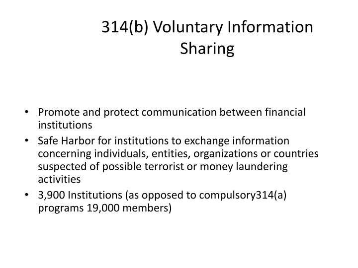 314(b) Voluntary Information Sharing