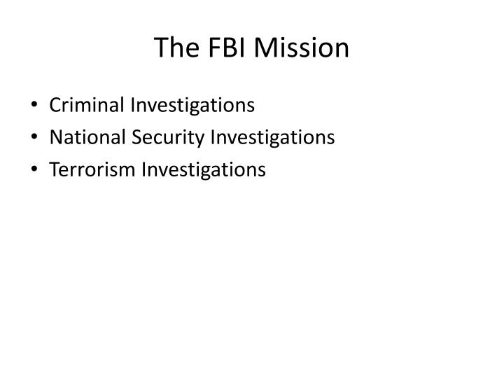The fbi mission