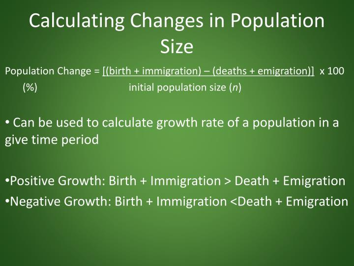 Calculating Changes in Population Size