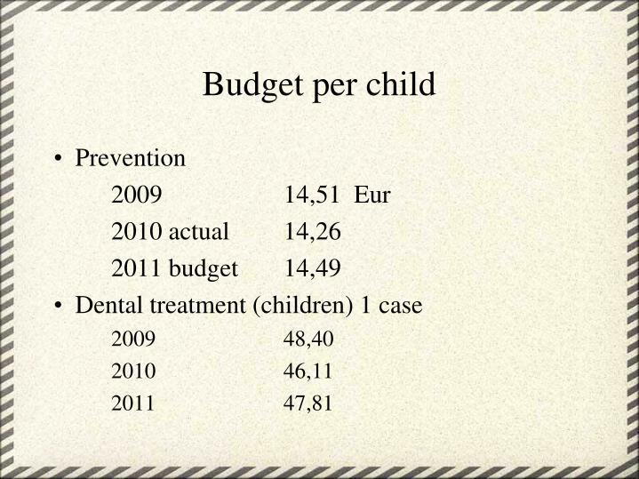 Budget per child
