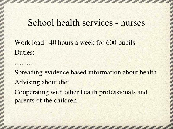 School health services - nurses