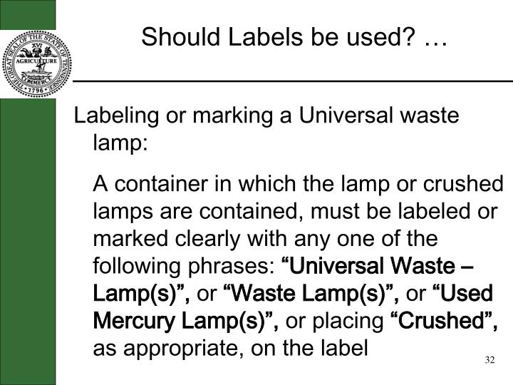Should Labels be used? …