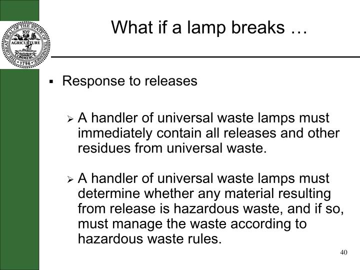 What if a lamp breaks …