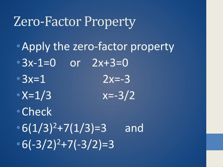 Zero-Factor Property