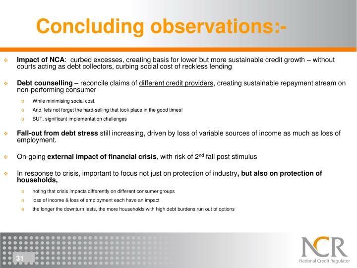 Concluding observations:-