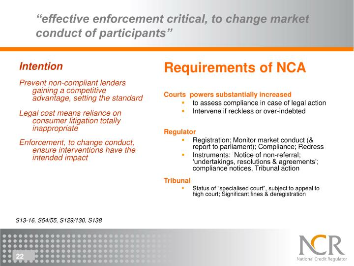 Requirements of NCA