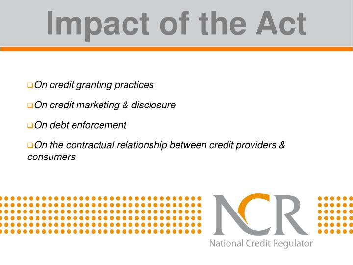 Impact of the Act
