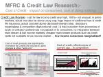 mfrc credit law research cost of credit impact on consumers cost of doing nothing