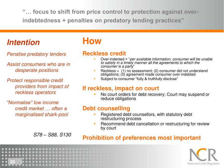 """… focus to shift from price control to protection against over-indebtedness + penalties on predatory lending practices"""