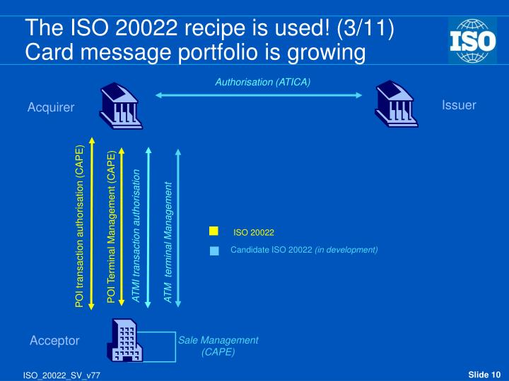 The ISO 20022 recipe is used! (3/11)
